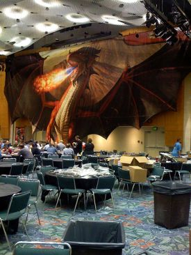 A giant dragon looms over the D&D room at GenCon 2007. Photo courtesy Paulmed @ Flickr, licensed under Creative Commons Sharealike 2.0