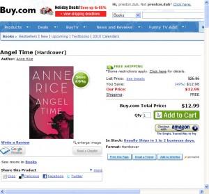 Screenshot of Angel Time at Buy.com.
