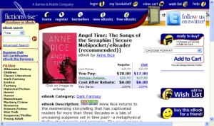 Screenshot of Angel Time at Fictionwise.