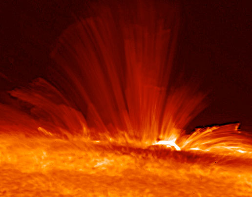 photo of magnetic field around a sunspot, courtesy of Hinode JAXA/NASA